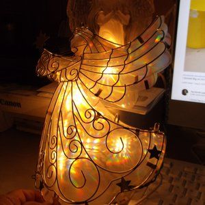 none Accents - irridescent light up angle tree topper like new